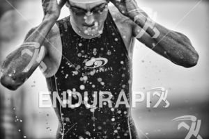 Ben Shaw exits the swim let at the 2017 Beijing International Triathlon on September 10, 2017 in Beijing, China.