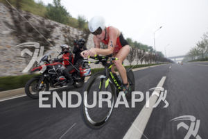 Paula Findlay on the bike leg of the 2017 Beijing International Triathlon on September 10, 2017 in Beijing, China.