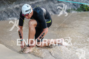 Cameron Wurf (AUS) prepares for the swim leg at the 2017 Ironman World Championship in Kailua-Kona, Hawaii on October 14, 2017.