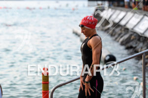 Daniela Ryf (SUI) prepares for the swim leg at the 2017 Ironman World Championship in Kailua-Kona, Hawaii on October 14, 2017.