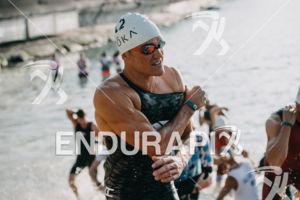 Braden Currie (NZL) competes during the swim leg at the 2017 Ironman World Championship in Kailua-Kona, Hawaii on October 14, 2017.