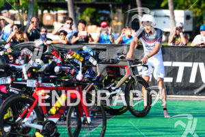 Jan Frodeno (GER) competes in the transition zone during the bike leg at the 2017 Ironman World Championship in Kailua-Kona, Hawaii on October 14, 2017.