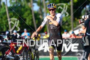 Sebastian Kienle (GER) competes in the transition zone before the bike leg at the 2017 Ironman World Championship in Kailua-Kona, Hawaii on October 14, 2017.