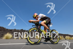Sebastian Kienle (GER) competes during the bike leg at the 2017 Ironman World Championship in Kailua-Kona, Hawaii on October 14, 2017. Photo: Michael Rauschendorfer / picture-alliance