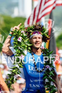 Patrick Lange (GER) at the finish of the 2017 Ironman World Championship in Kailua-Kona, Hawaii on October 14, 2017.