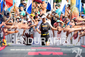 Sebastian Kienle (GER) at the finish of the 2017 Ironman World Championship in Kailua-Kona, Hawaii on October 14, 2017.