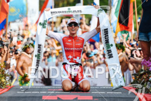 Daniela Ryf (SUI) at the finish of the 2017 Ironman World Championship in Kailua-Kona, Hawaii on October 14, 2017.