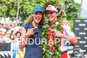 Chrissie Wellington, Daniela Ryf (SUI) at the finish of the 2017 Ironman World Championship in Kailua-Kona, Hawaii on October 14, 2017.