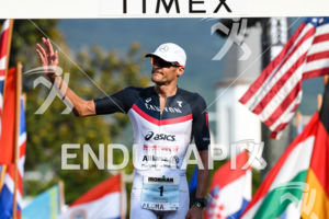 Jan Frodeno (GER) at the finish of the 2017 Ironman World Championship in Kailua-Kona, Hawaii on October 14, 2017.