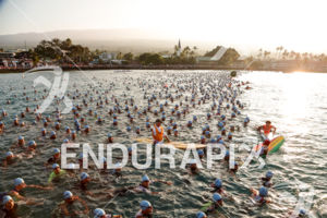 Pre-race start at the 2017 Ironman World Championship in Kailua-Kona, Hawaii on October 14, 2017.