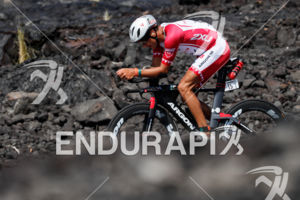 Terenzo Bozzone (NZL) competes during the bike leg at the 2017 Ironman World Championship in Kailua-Kona, Hawaii on October 14, 2017.