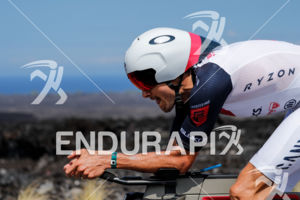 Jan Frodeno (ALE) competes during the bike leg at the 2017 Ironman World Championship in Kailua-Kona, Hawaii on October 14, 2017.