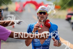 Patrick Lange (GER) competes during the run leg thru the Natural Energy Lab at the 2017 Ironman World Championship in Kailua-Kona, Hawaii on October 14, 2017.