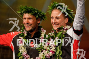 Daniela Ryf (SUI) and Patrick Lange (GER) at the awards cerimony at the 2017 Ironman World Championship in Kailua-Kona, Hawaii on October 14, 2017.