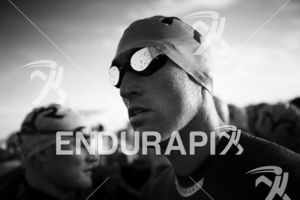 Matthew McElroy prepares for the swim start at the 2018 Escape Surf City Triathlon on April 22, 2018 in Huntington Beach, CA.