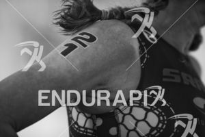 Sarah Haskins-Kortuem at the finish of the 2018 Escape Surf City Triathlon on April 22, 2018 in Huntington Beach, CA.
