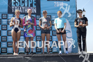 From left to right, Sophie Chase, Sarah Haskins-Kortuem, Erika Ackerlund, Paula Findlay and Heather Jackson at the 2018 Escape Surf City Triathlon on April 22, 2018 in Huntington Beach, CA.