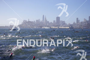 Swimmers make their way across the bay at Escape From Alcatraz Triathlon on June 3, 2018 in San Francisco, CA.