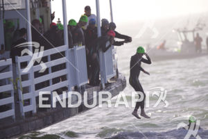 Age groupers begin the swim leg at Escape From Alcatraz Triathlon on June 3, 2018 in San Francisco, CA.