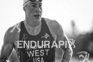 Jason West makes his way from the swim exit to the transition area at Escape From Alcatraz Triathlon on June 3, 2018 in San Francisco, CA.