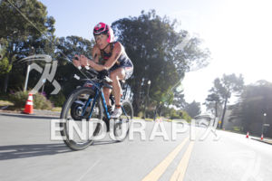 Sarah Haskins makes her way through Golden Gate Park at Escape From Alcatraz Triathlon on June 3, 2018 in San Francisco, CA.