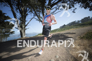 Cameron Dye holding 2nd place during the run leg at Escape From Alcatraz Triathlon on June 3, 2018 in San Francisco, CA.