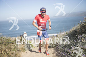 Ben Kanute on the infamous Sand Ladder at Escape From Alcatraz Triathlon on June 3, 2018 in San Francisco, CA.