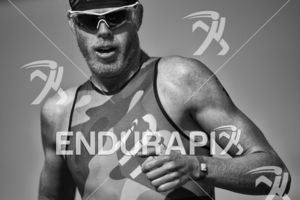 Cameron Dye reaches the finish line to claim 2nd place at Escape From Alcatraz Triathlon on June 3, 2018 in San Francisco, CA.