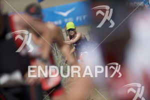 An age grouper makes her way up the infamous Sand Ladder at Escape From Alcatraz Triathlon on June 3, 2018 in San Francisco, CA.