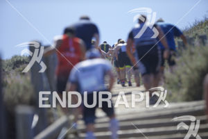 Age groupers make their way up the infamous Sand Ladder at Escape From Alcatraz Triathlon on June 3, 2018 in San Francisco, CA.
