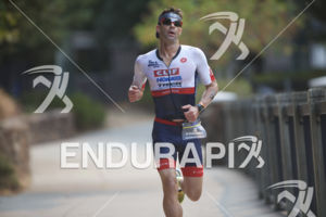 Tim O'Donnell on the run course of the 2018 Ironman 70.3 Santa Rosa in Sonoma County, CA on July 28, 2018.