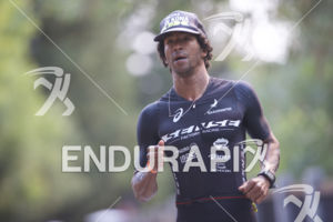 Thiago Vinhal on the run course at the 2018 Ironman 70.3 Santa Rosa in Sonoma County, CA on July 28, 2018.