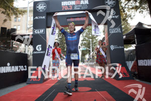 Sam Appleton is victorious at the 2018 Ironman 70.3 Santa Rosa in Sonoma County, CA on July 28, 2018.