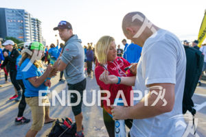 Body marking before the start at the 2018 Ironman Wisconsin on September 09, 2018 in Madison, WI.