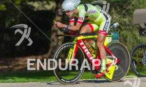 Linsey Corbin showing her new form on the bike course on her way to victory and a new course record at the 2018 Ironman Wisconsin on September 09, 2018 in Madison, WI.