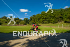 Female age group athlete cruising through some of the scenic areas on the bike course at the 2018 Ironman Wisconsin on September 09, 2018 in Madison, WI.