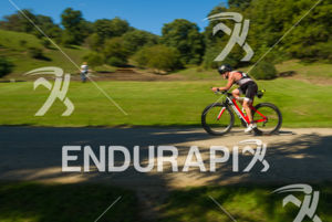 Age group athlete cruising through some of the scenic areas on the bike course at the 2018 Ironman Wisconsin on September 09, 2018 in Madison, WI.
