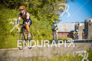 Age group athletes cruising through some of the scenic areas on the bike course at the 2018 Ironman Wisconsin on September 09, 2018 in Madison, WI.