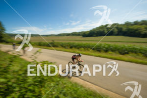 Athletes cruising through the cornfields on some of the scenic areas on the bike course at the 2018 Ironman Wisconsin on September 09, 2018 in Madison, WI.
