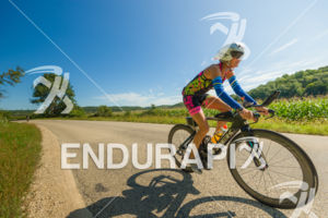 Female athlete  enjoying a gorgeous day on the bike course at the 2018 Ironman Wisconsin on September 09, 2018 in Madison, WI.