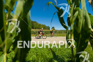 Riding amongst the cornfields on the bike course at the 2018 Ironman Wisconsin on September 09, 2018 in Madison, WI.