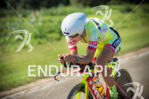 Linsey Corbin showing her new aero form on the bike course on her way to victory and a new course record at the 2018 Ironman Wisconsin on September 09, 2018 in Madison, WI.