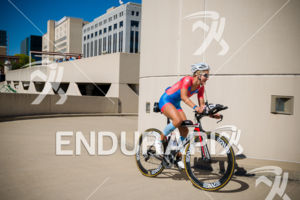 Female age group athlete on the final climb up the Helix at the 2018 Ironman Wisconsin on September 09, 2018 in Madison, WI.