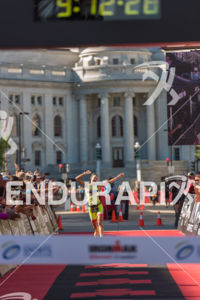 Linsey Corbin celebrating on her way to the women's pro victory and course record at the 2018 Ironman Wisconsin on September 09, 2018 in Madison, WI.