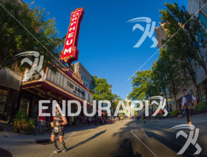 Runner enjoying the State Street stretch of the run course at the 2018 Ironman Wisconsin on September 09, 2018 in Madison, WI.