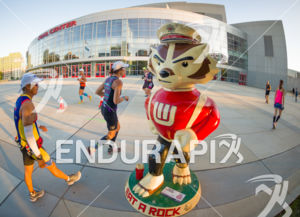 Running past the Kohl Center and one of the 85 Bucky staues situated around Madison at the 2018 Ironman Wisconsin on September 09, 2018 in Madison, WI.