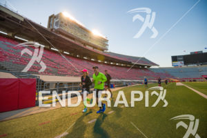 Finding a running buddy in Camp Randall Stadium on the run course at the 2018 Ironman Wisconsin on September 09, 2018 in Madison, WI.