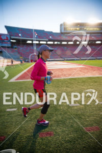 Running strong in Camp Randall Stadium on the run course at the 2018 Ironman Wisconsin on September 09, 2018 in Madison, WI.