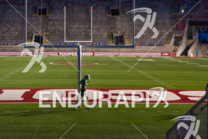 A solitary segment has an age grouper diggin deep in Camp Randall Stadium on the run course at the 2018 Ironman Wisconsin on September 09, 2018 in Madison, WI.