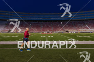 A solitary segment for an age grouper in Camp Randall Stadium on the run course at the 2018 Ironman Wisconsin on September 09, 2018 in Madison, WI.